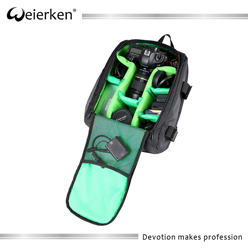 Chinese waterproof Weierken brand eminent insert high quality shaped large nylon photo dslr camera backpack