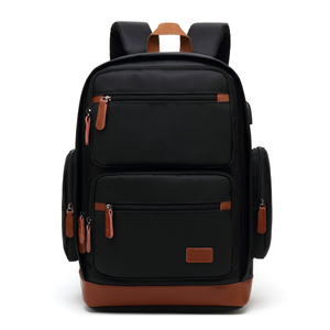 Black multi-pocket Poso business laptop backpack in stock