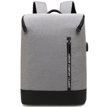 Gray Waterproof polyester business USB laptop backpack in stock
